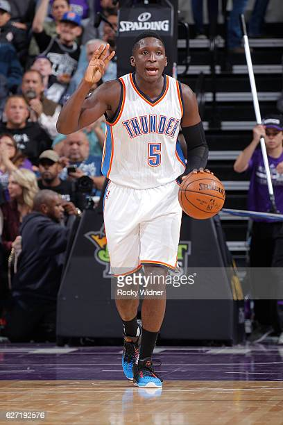 Victor Oladipo of the Oklahoma City Thunder brings the ball up the court against the Sacramento Kings on November 23 2016 at Golden 1 Center in...