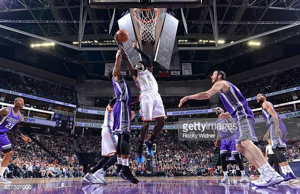 Victor Oladipo of the Oklahoma City Thunder shoots a layup against the Sacramento Kings on November 23 2016 at Golden 1 Center in Sacramento...