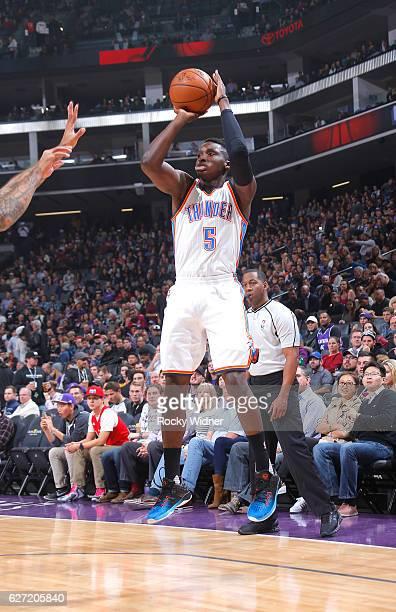 Victor Oladipo of the Oklahoma City Thunder shoots a three pointer against the Sacramento Kings on November 23 2016 at Golden 1 Center in Sacramento...