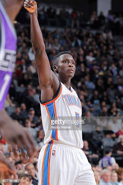 Victor Oladipo of the Oklahoma City Thunder shoots against the Sacramento Kings on November 23 2016 at Golden 1 Center in Sacramento California NOTE...