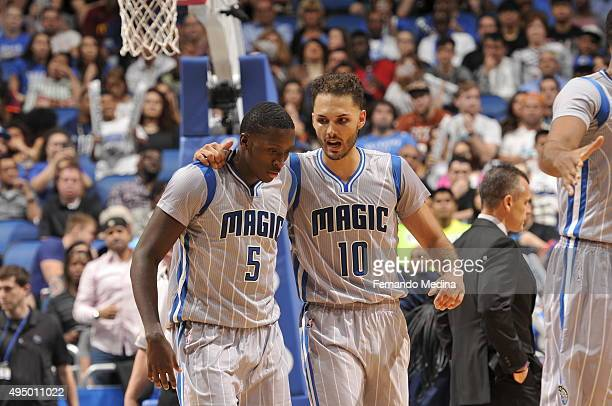 Victor Oladipo of the Orlando Magic and Evan Fournier of the Orlando Magic talk during the game against the Oklahoma City Thunder on October 30 2015...