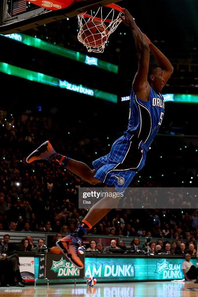 <a gi-track='captionPersonalityLinkClicked' href=/galleries/search?phrase=Victor+Oladipo&family=editorial&specificpeople=6681560 ng-click='$event.stopPropagation()'>Victor Oladipo</a> #5 of the Orlando Magic competes during the Sprite Slam Dunk Contest as part of the 2015 NBA Allstar Weekend at Barclays Center on February 14, 2015 in the Brooklyn borough of New York City.