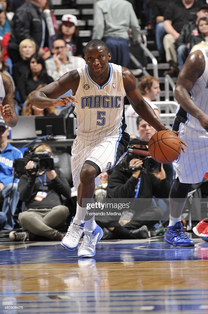 Victor Oladipo #5 of the Orlando Magic dribbles up the court against the Chicago Bulls Bulls during the game on January 15, 2014 at Amway Center in Orlando, Florida.