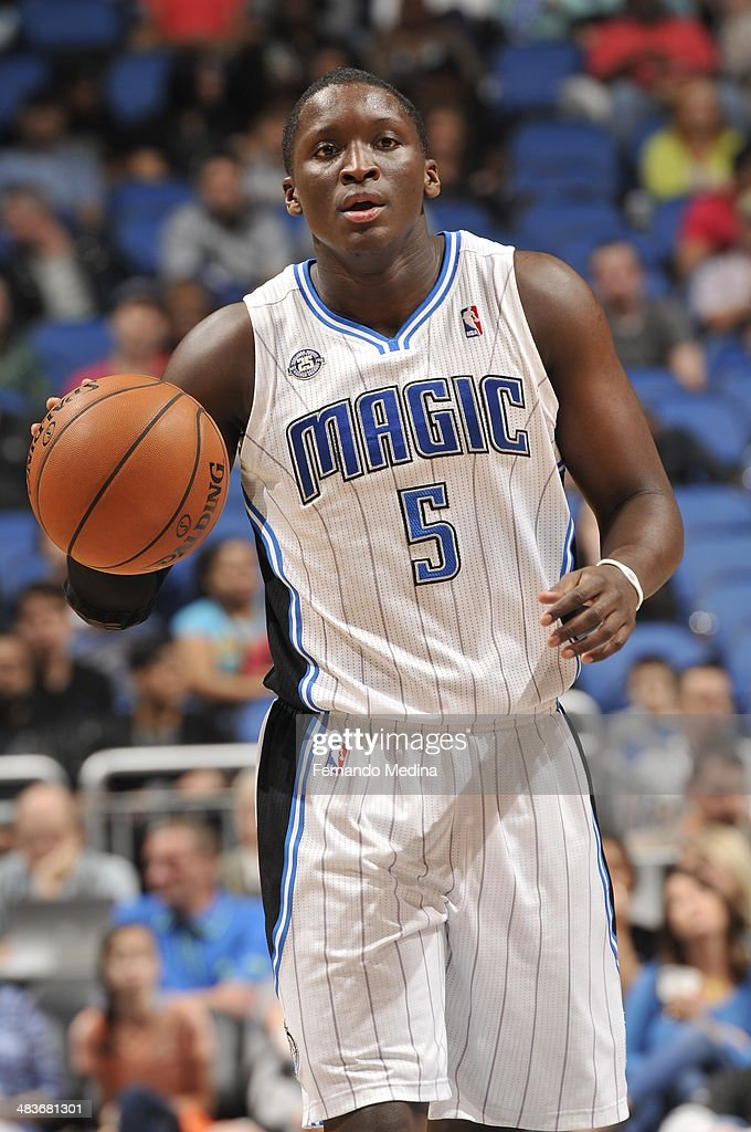 <a gi-track='captionPersonalityLinkClicked' href=/galleries/search?phrase=Victor+Oladipo&family=editorial&specificpeople=6681560 ng-click='$event.stopPropagation()'>Victor Oladipo</a> #5 of the Orlando Magic dribbles up the court against the Brooklyn Nets during the game on April 9, 2014 at Amway Center in Orlando, Florida.