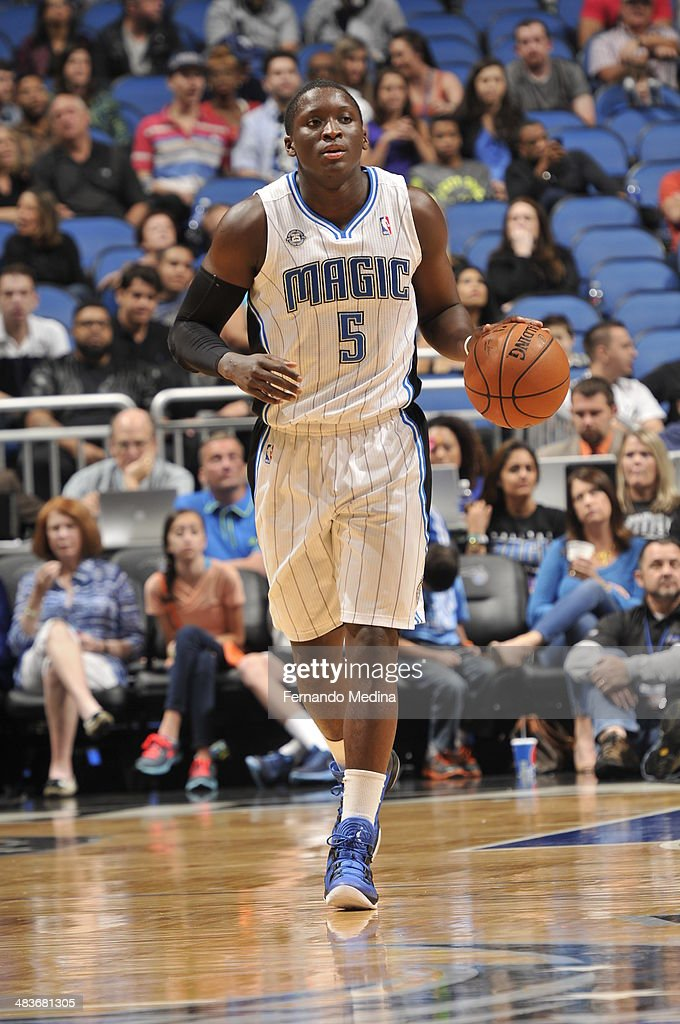Victor Oladipo #5 of the Orlando Magic dribbles up the court against the Brooklyn Nets during the game on April 9, 2014 at Amway Center in Orlando, Florida.