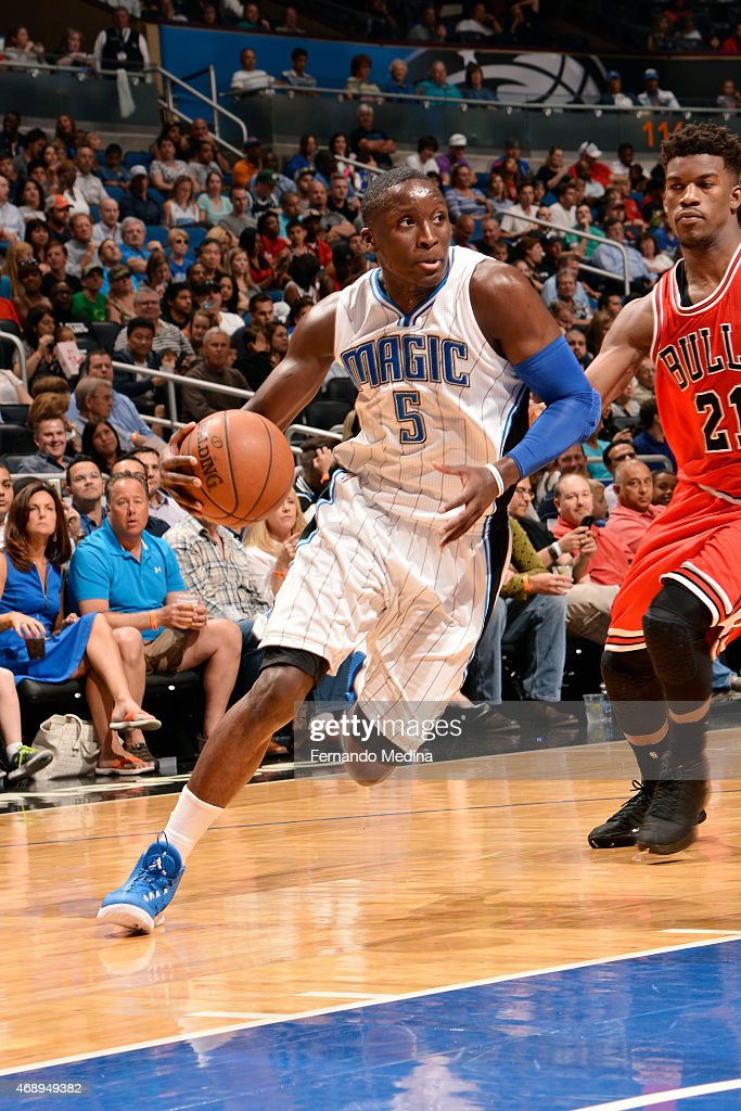 Victor Oladipo of the Orlando Magic drives against the Chicago Bulls on April 8 2015 at Amway Center in Orlando Florida NOTE TO USER User expressly...