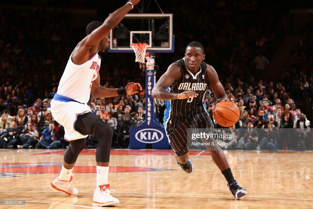 <a gi-track='captionPersonalityLinkClicked' href=/galleries/search?phrase=Victor+Oladipo&family=editorial&specificpeople=6681560 ng-click='$event.stopPropagation()'>Victor Oladipo</a> #5 of the Orlando Magic drives during a game against the New York Knicks at Madison Square Garden in New York City on December 6, 2013.