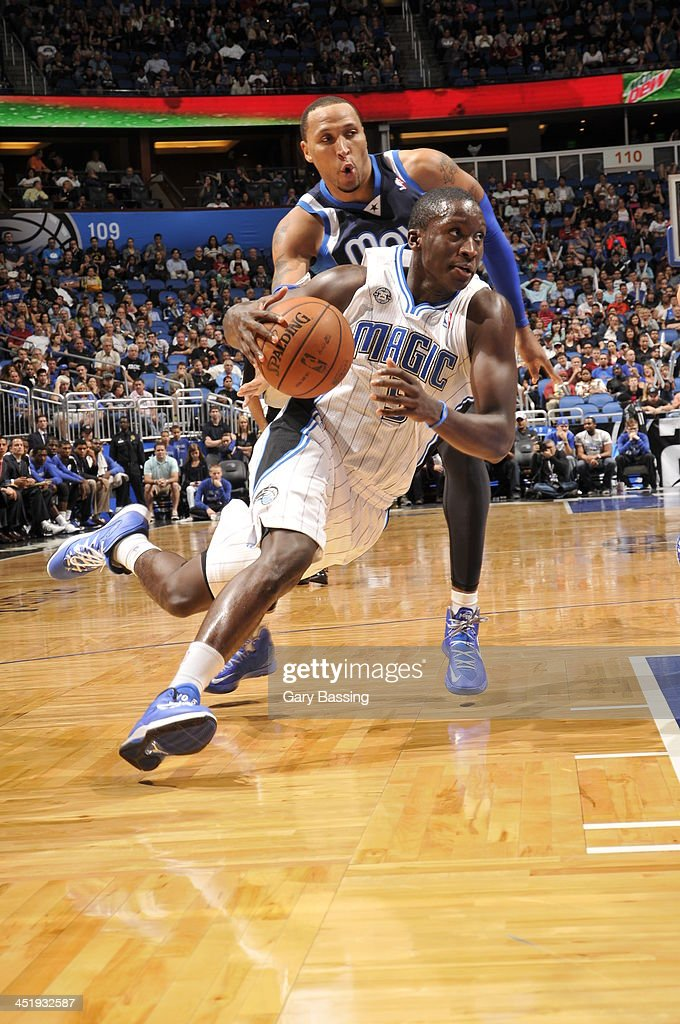 <a gi-track='captionPersonalityLinkClicked' href=/galleries/search?phrase=Victor+Oladipo&family=editorial&specificpeople=6681560 ng-click='$event.stopPropagation()'>Victor Oladipo</a> #5 of the Orlando Magic drives past <a gi-track='captionPersonalityLinkClicked' href=/galleries/search?phrase=Shawn+Marion&family=editorial&specificpeople=201566 ng-click='$event.stopPropagation()'>Shawn Marion</a> #0 of the Dallas Mavericks on November 16, 2013 at Amway Center in Orlando, Florida.