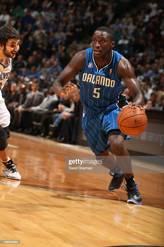 Victor Oladipo #5 of the Orlando Magic drives to the basket against the Minnesota Timberwolves during the season and home opening game on October 30, 2013 at Target Center in Minneapolis, Minnesota.