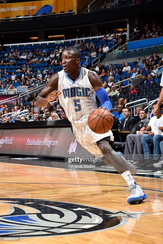 Victor Oladipo of the Orlando Magic drives to the basket against the Memphis Grizzlies on October 23 2015 at Amway Center in Orlando Florida NOTE TO...