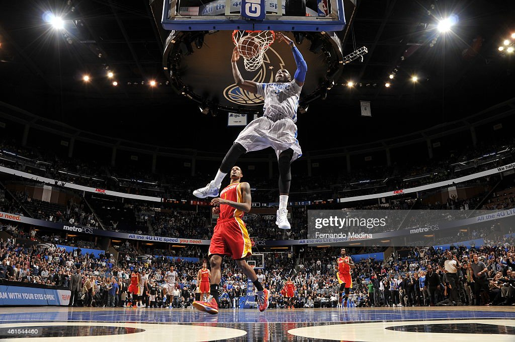 Victor Oladipo of the Orlando Magic dunks against the Houston Rockets during the game on January 14 2015 at Amway Center in Orlando Florida NOTE TO...