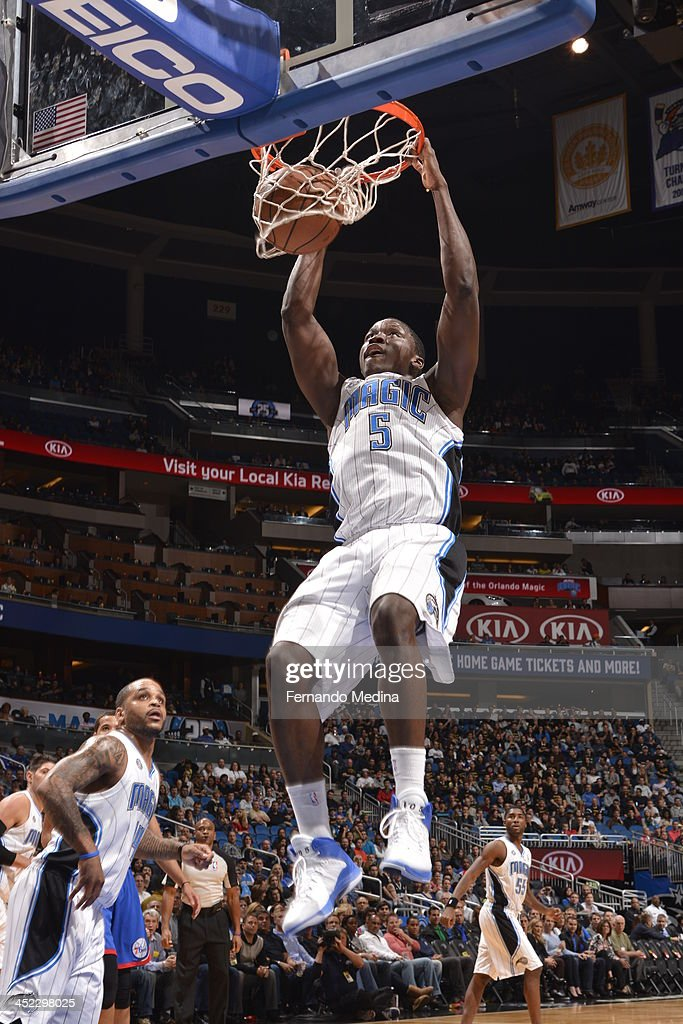 <a gi-track='captionPersonalityLinkClicked' href=/galleries/search?phrase=Victor+Oladipo&family=editorial&specificpeople=6681560 ng-click='$event.stopPropagation()'>Victor Oladipo</a> #5 of the Orlando Magic dunks the ball against the Philadelphia 76ers during the game on November 27, 2013 at Amway Center in Orlando, Florida.
