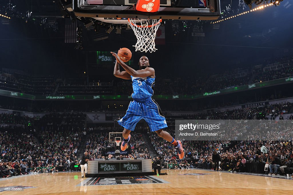 Victor Oladipo of the Orlando Magic dunks the ball during the Sprite Slam Dunk Contest on State Farm AllStar Saturday Night as part of the 2015 NBA...