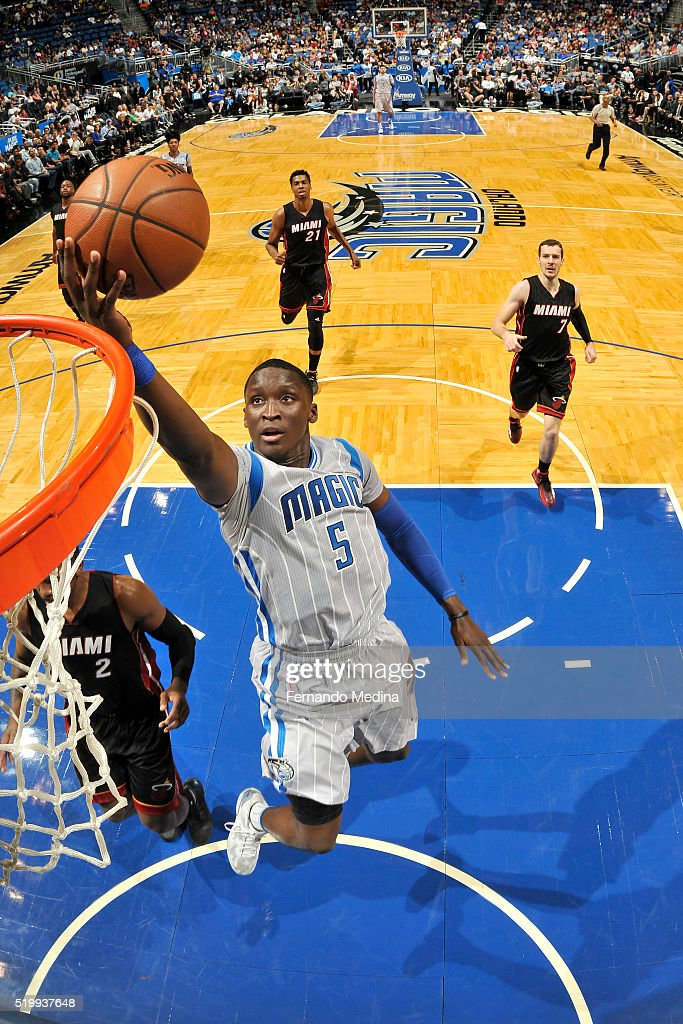 Victor Oladipo of the Orlando Magic goes for the layup during the game against the Miami Heat on April 8 2016 at Amway Center in Orlando Florida NOTE...