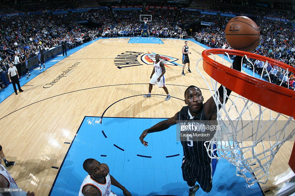Victor Oladipo of the Orlando Magic goes up for a dunk against the Oklahoma City Thunder on February 3 2016 at Chesapeake Energy Arena in Oklahoma...