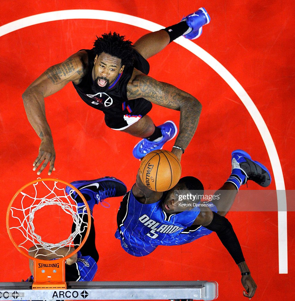 Victor Oladipo of the Orlando Magic goes up for a layup against DeAndre Jordan of the Los Angeles Clippers during the second half of the basketball...
