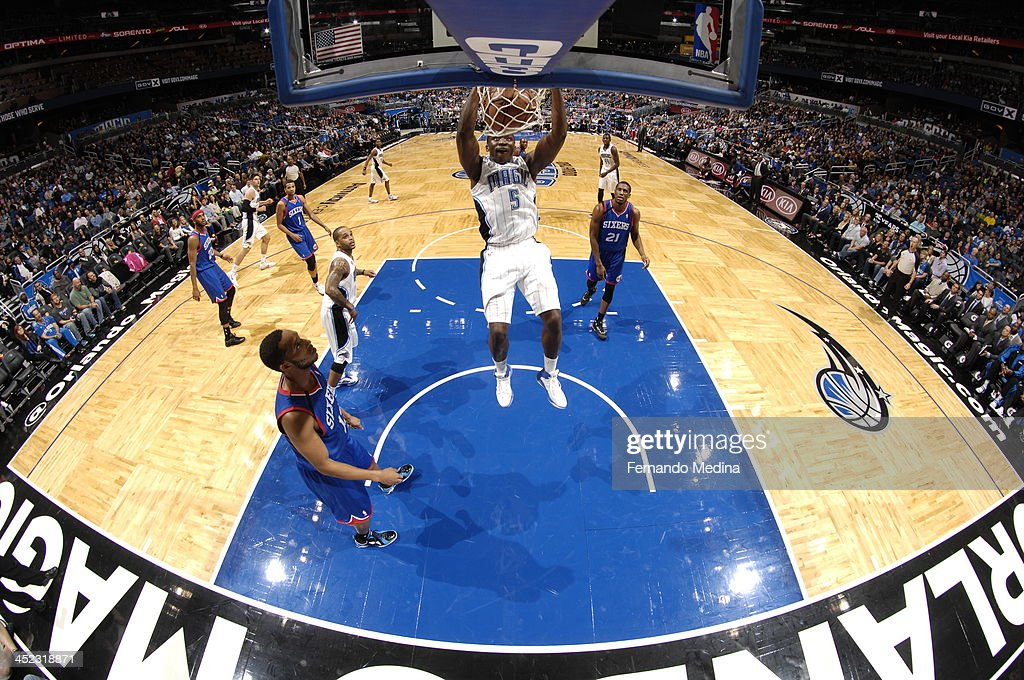 <a gi-track='captionPersonalityLinkClicked' href=/galleries/search?phrase=Victor+Oladipo&family=editorial&specificpeople=6681560 ng-click='$event.stopPropagation()'>Victor Oladipo</a> #5 of the Orlando Magic goes up for the dunk against the Philadelphia 76ers during the game on November 27, 2013 at Amway Center in Orlando, Florida.
