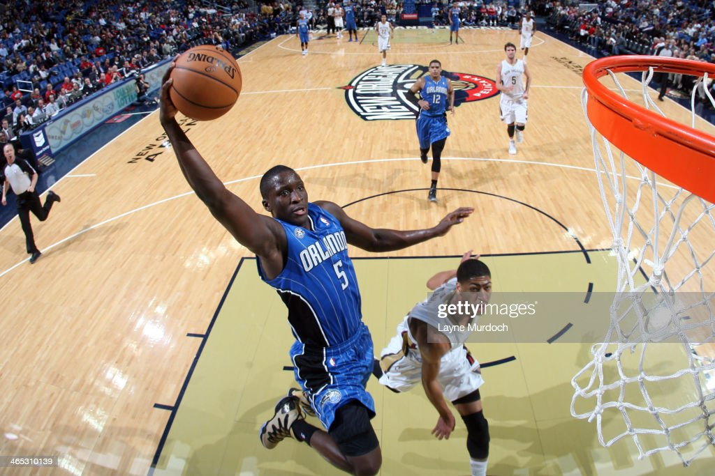 Victor Oladipo of the Orlando Magic goes up for the dunk against the New Orleans Pelicans during an NBA game on January 26 2014 at the New Orleans...