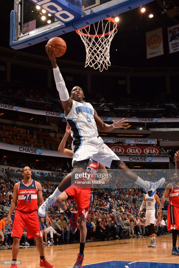 Victor Oladipo of the Orlando Magic goes up for the layup against the Washington Wizards during the game on April 11 2014 at Amway Center in Orlando...