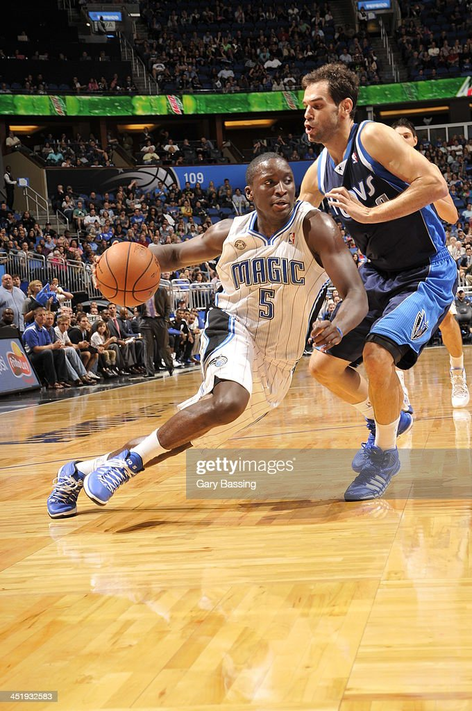 <a gi-track='captionPersonalityLinkClicked' href=/galleries/search?phrase=Victor+Oladipo&family=editorial&specificpeople=6681560 ng-click='$event.stopPropagation()'>Victor Oladipo</a> #5 of the Orlando Magic handles the ball against Jose Calderon #8 of the Dallas Mavericks on November 16, 2013 at Amway Center in Orlando, Florida.