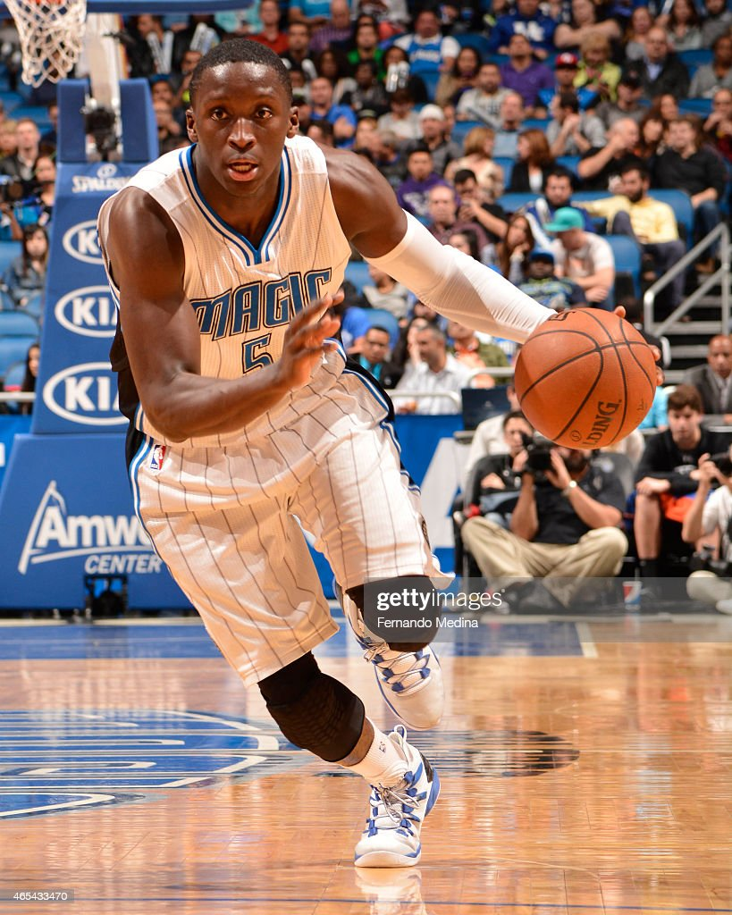 Victor Oladipo of the Orlando Magic handles the ball against the Sacramento Kings on March 6 2015 at Amway Center in Orlando Florida NOTE TO USER...