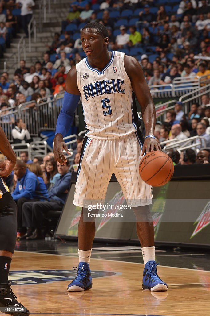 Victor Oladipo of the Orlando Magic handles the ball against the Indiana Pacers on April 16 2014 at Amway Center in Orlando Florida NOTE TO USER User...
