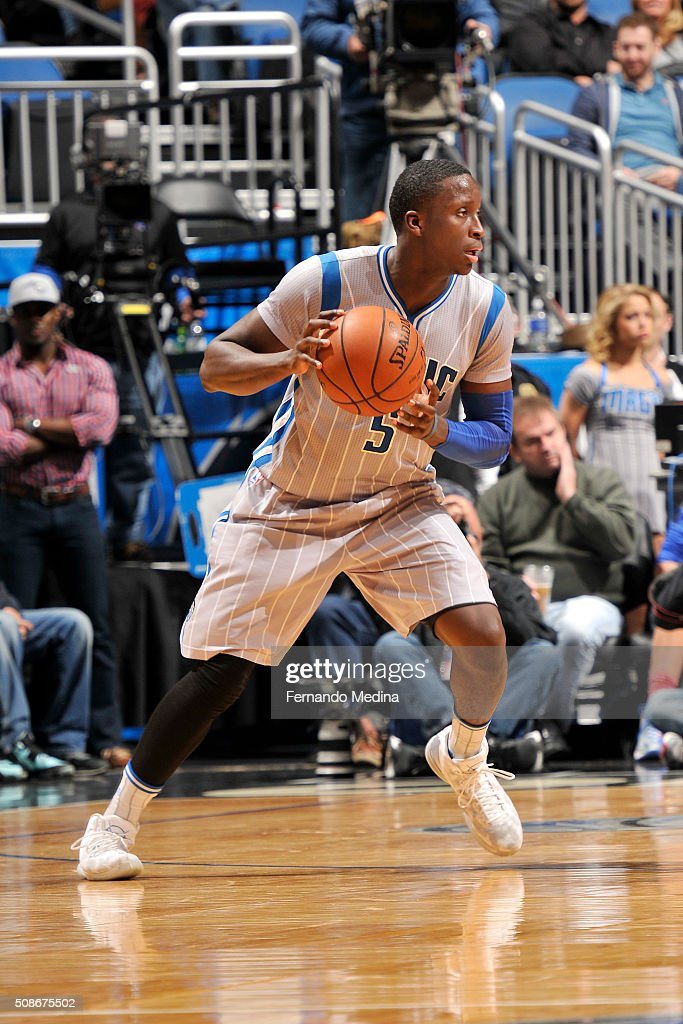 Victor Oladipo #5 of the Orlando Magic handles the ball during the game against the Los Angeles Clippers on February 5, 2016 at Amway Center in Orlando, Florida.