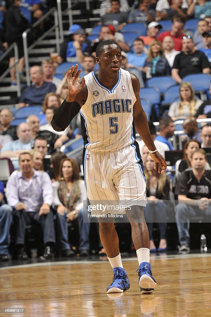 Victor Oladipo #5 of the Orlando Magic looks on against the Brooklyn Nets during the game on April 9, 2014 at Amway Center in Orlando, Florida.