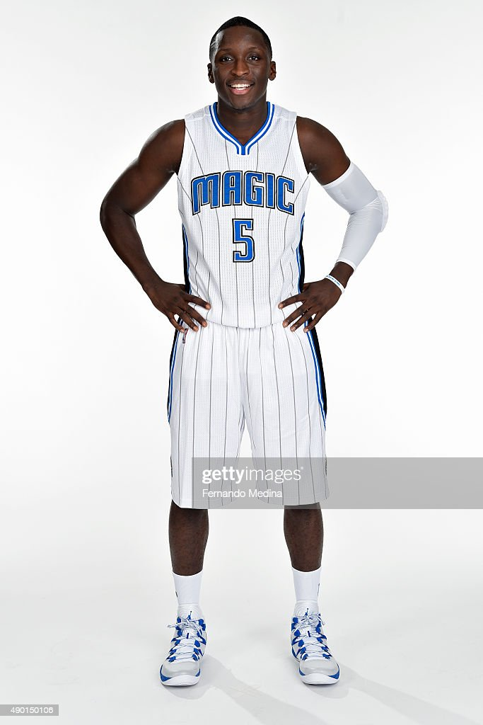 Victor Oladipo of the Orlando Magic poses for a portrait during NBA Media Day on September 25 2015 at Amway Center in Orlando Florida NOTE TO USER...