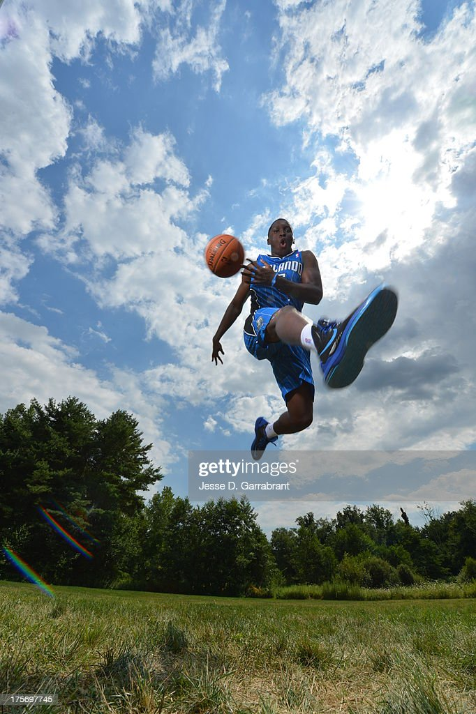 Victor Oladipo of the Orlando Magic poses for a portrait during the 2013 NBA Rookie Photo Shoot on August 6, 2013 at the MSG Training Facility in Tarrytown, New York.