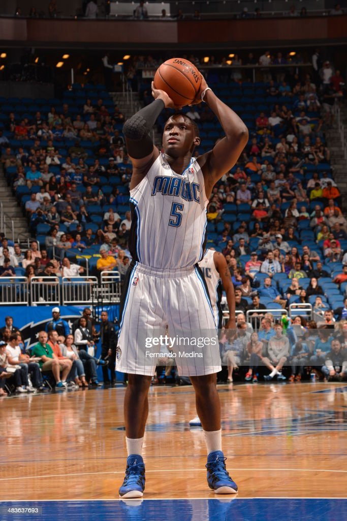 Victor Oladipo #5 of the Orlando Magic shoots a foul shot against the Brooklyn Nets during the game on April 9, 2014 at Amway Center in Orlando, Florida.