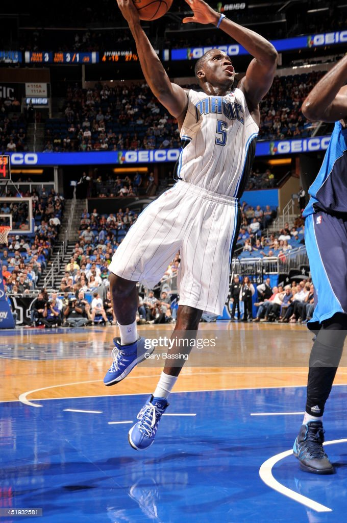 <a gi-track='captionPersonalityLinkClicked' href=/galleries/search?phrase=Victor+Oladipo&family=editorial&specificpeople=6681560 ng-click='$event.stopPropagation()'>Victor Oladipo</a> #5 of the Orlando Magic shoots against the Dallas Mavericks on November 16, 2013 at Amway Center in Orlando, Florida.