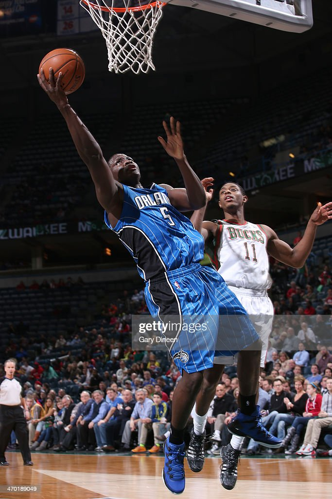 Victor Oladipo #5 of the Orlando Magic shoots against the Milwaukee Bucks on February 18, 2014 at the BMO Harris Bradley Center in Milwaukee, Wisconsin.