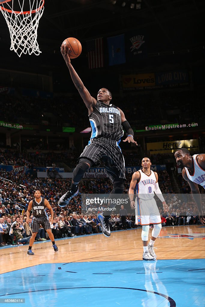 Victor Oladipo of the Orlando Magic shoots the ball against the Oklahoma City Thunder during the game on February 2 2015 at Chesapeake Energy Arena...