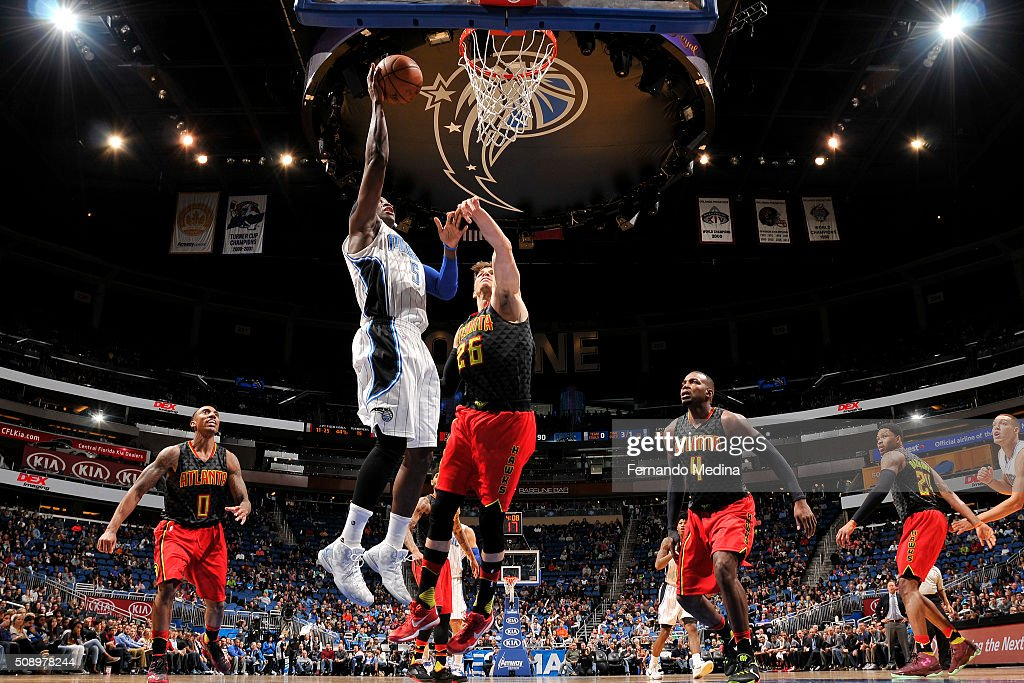 <a gi-track='captionPersonalityLinkClicked' href=/galleries/search?phrase=Victor+Oladipo&family=editorial&specificpeople=6681560 ng-click='$event.stopPropagation()'>Victor Oladipo</a> #5 of the Orlando Magic shoots the ball against the Atlanta Hawks on February 7, 2016 at the Amway Center in Orlando, Florida.
