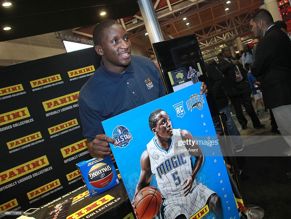 Victor Oladipo #5 of the Orlando Magic signs autographs for fans at the Panini booth during the 2014 NBA All-Star Jam Session at the Ernest N. Morial Convention Center on February 15, 2014 in New Orleans, Louisiana