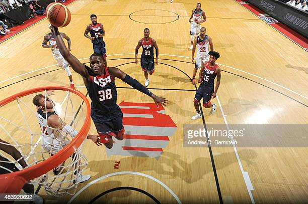 Victor Oladipo of USA Blue goes up for a dunk against USA White during the Team USA Basketball Showcase on August 13 2015 at the Thomas Mack Center...