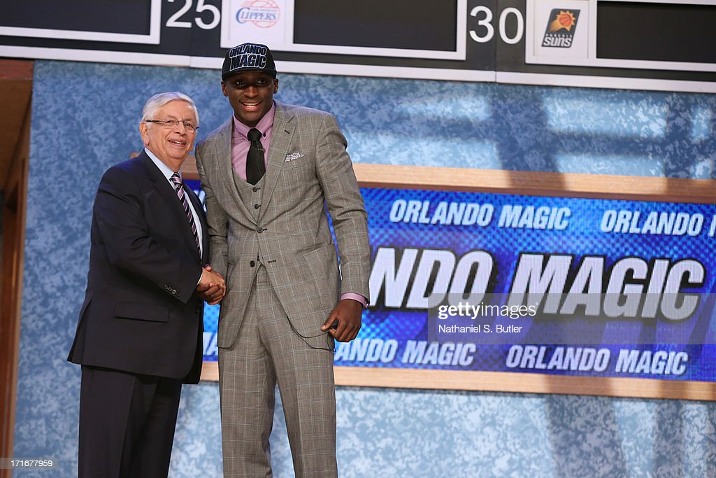 Victor Olapido shakes hands with NBA Commissioner, David Stern after being selected number two overall by the Orlando Magic during the 2013 NBA Draft on June 27, 2013 at Barclays Center in Brooklyn, New York.