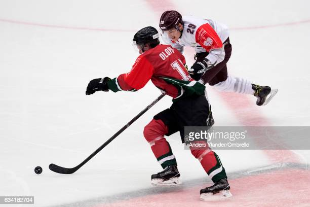 Victor Olofsson of the Frolunda Gothenburg skates against Petr Kalina of the Sparta Prague during the Champions Hockey League Final between Frolunda...
