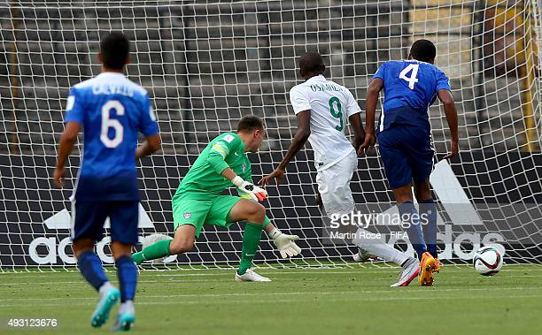 Victor Osimhen of Nigeria scores his team 2nd goal during the FIFA U17 Men's World Cup 2015 group A match between Nigeria and USA at Estadio Nacional...