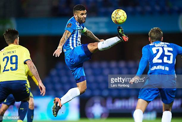 Victor Palsson of Esbjerg fB controls the ball during the Danish Alka Superliga match between Esbjerg fB and Brondby IF at Blue Water Arena on...