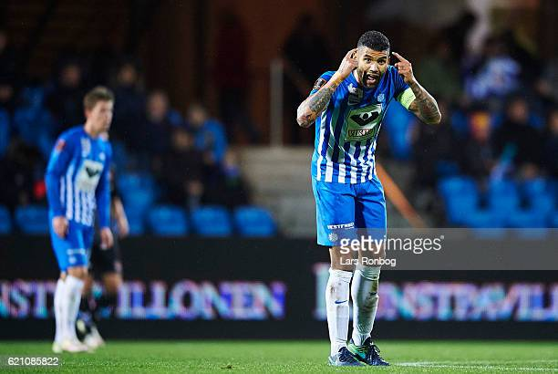 Victor Palsson of Esbjerg fB gestures during the Danish Alka Superliga match between Esbjerg fB and AaB Aalborg at Blue Water Arena on November 4...