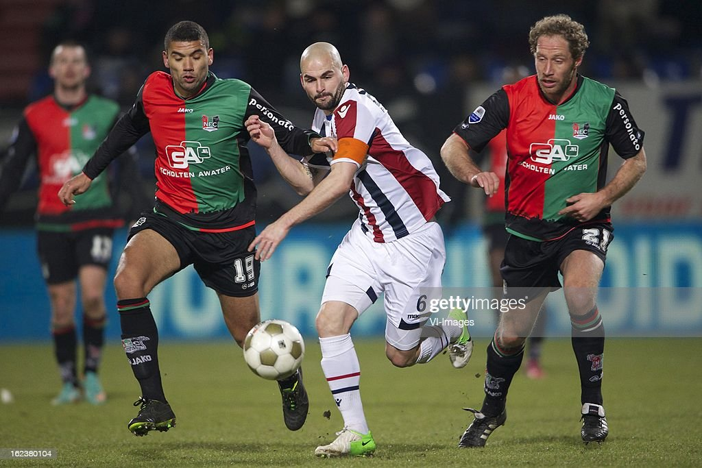 Victor Palsson of NEC Nijmegen, Hans Mulder of Willem II, Michel Breuer of NEC Nijmegen during the Dutch Eredivisie Match between Willem II and NEC Nijmegen at the Koning Willem II Stadium on february 22, 2013 in Tilburg, The Netherlands