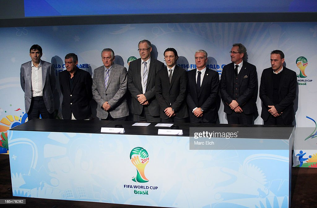 Victor Piturca (team manager of Romania), Fernando Manuel Costa Santos (team manager of Greece), Michail Fomenko (team manager of Ukraine), Lars Lagerbaeck (team manager of Iceland), Igor Stimac (team manager of Croatia), <a gi-track='captionPersonalityLinkClicked' href=/galleries/search?phrase=Didier+Deschamps&family=editorial&specificpeople=213607 ng-click='$event.stopPropagation()'>Didier Deschamps</a> (team manager of France), Erik Hamren (team manager of Sweden), Paulo Jorge Gomes Bentoand (team manager Portugal) pose after the FIFA World Cup 2014 European Zone Play-Off Match Draw at the FIFA headquarter on October 21, 2013 in Zurich, Switzerland.