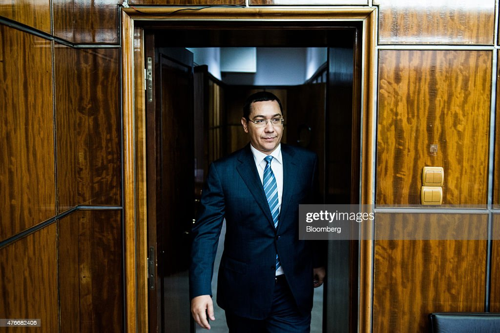 Victor Ponta, Romania's prime minister, arrives for an interview at the Victoria Palace in Bucharest, Romania, on Thursday, June 11, 2015. A protracted political crisis in Romania would threaten to slow the European Unions fastest economic growth, according to Ponta, who faces a no-confidence motion on Friday. Photographer: Akos Stiller/Bloomberg via Getty Images