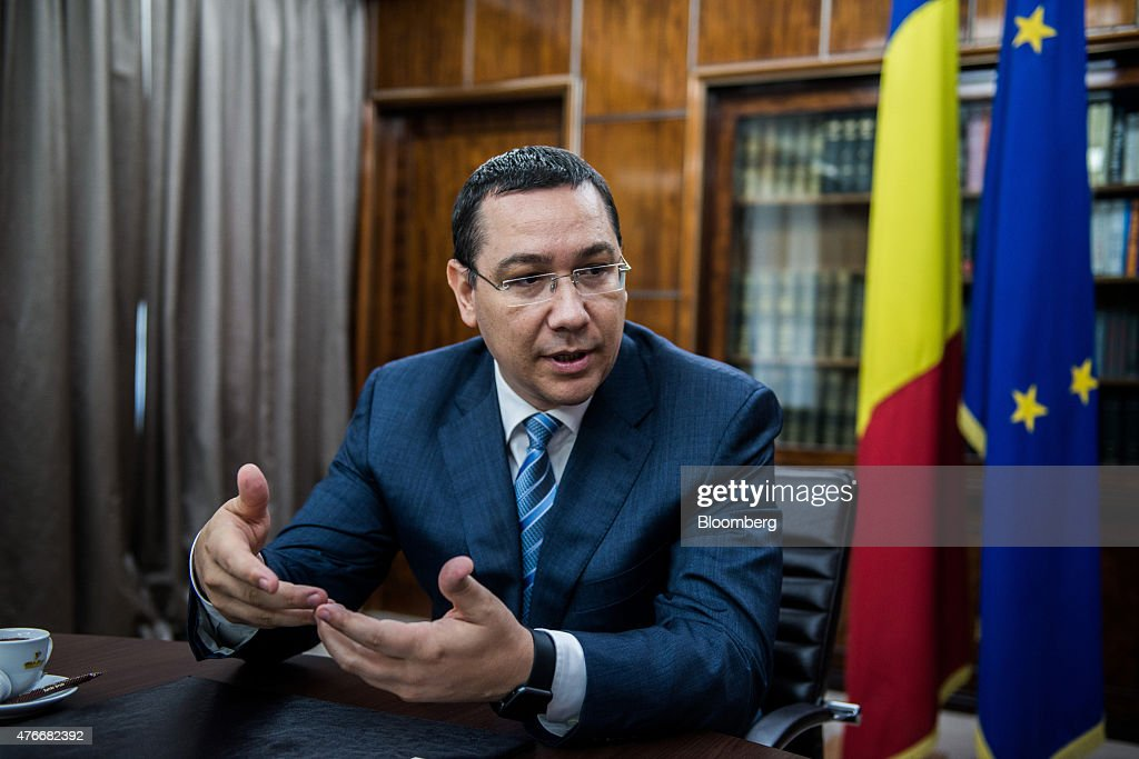 <a gi-track='captionPersonalityLinkClicked' href=/galleries/search?phrase=Victor+Ponta&family=editorial&specificpeople=6752065 ng-click='$event.stopPropagation()'>Victor Ponta</a>, Romania's prime minister, speaks during an interview at the Victoria Palace in Bucharest, Romania, on Thursday, June 11, 2015. A protracted political crisis in Romania would threaten to slow the European Unions fastest economic growth, according to Ponta, who faces a no-confidence motion on Friday. Photographer: Akos Stiller/Bloomberg via Getty Images
