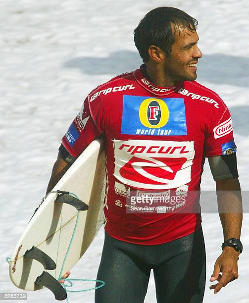 Victor Ribas leaves the water during round two of the Rip Curl Pro at Bells Beach April 9 2004 in Torquay Australia The Rip Curl Pro is round two of...