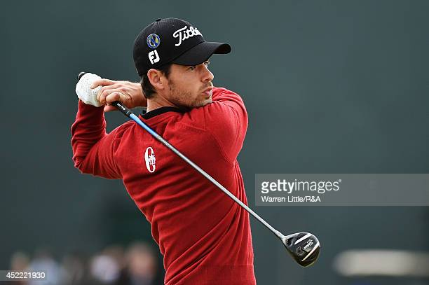 Victor Riu of France hits a tee shot during a practice round prior to the start of the 143rd Open Championship at Royal Liverpool on July 16 2014 in...