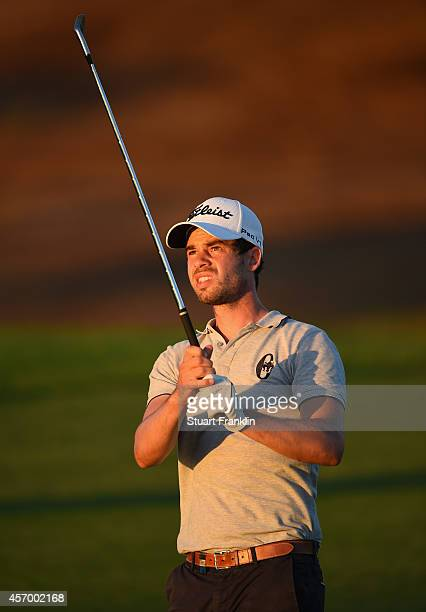 Victor Riu of France plays a shot during the second round of the Portugal Masters at Oceanico Victoria Golf Club on October 9 2014 in Albufeira...