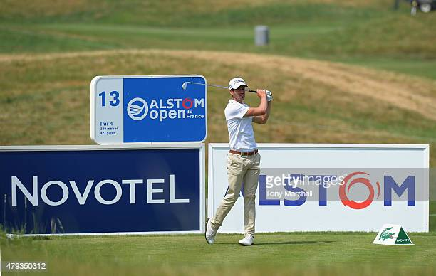 Victor Riu of France plays his first shot on the 13th tee during the Alstom Open de France Day Two at Le Golf National on July 3 2015 in Paris France
